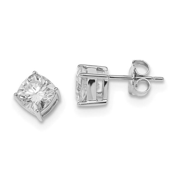 3c3104ab0 Shop Versil 14 Karat White Gold 6mm Cushion True Light Moissanite Earring  2.2 Carat Earrings - Free Shipping Today - Overstock - 19205784
