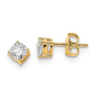 14 Karat Yellow Gold 4.50mm Cushion True Light Moissanite Earring - White
