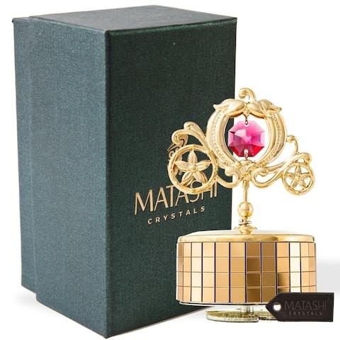 Princess Carriage Music Box Love Story Table Top Ornament w/ Matashi Crystals Home, Bedroom Decor