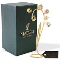 24k Gold Plated Crystal Flower Table Ornament Floral Arrangement - 2.5 x 4 x 8.5
