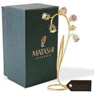 24k Gold Plated Crystal Flower Table Ornament Floral Arrangement