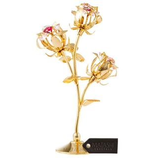 Matashi MTFL12980G Rose Flower Tabletop Ornament w/ Red & Pink Matashi Crystals--3 color options (Gold, Rose Gold, Silver)