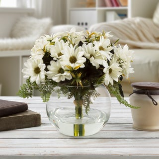 Daisy Artificial Silk Floral Arrangement with Vase and Faux Water- Pure Garden (White)