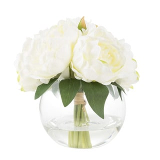 Rose Artificial Silk Floral Arrangement with Vase and Faux Water- Pure Garden (Cream)