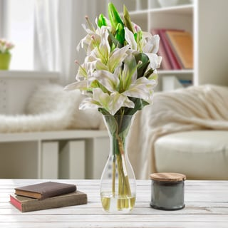 Tall Lily Artificial Silk Floral Arrangement with Vase and Faux Water- Pure Garden (White)