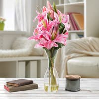 Tall Lily Artificial Silk Floral Arrangement with Vase and Faux Water- Pure Garden (Pink)
