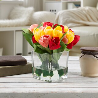 Multicolor Tulip Artificial Silk Floral Arrangement with Vase and Faux Water-by Pure Garden