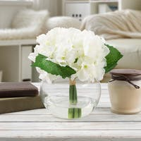 Hydrangea Artificial Silk Floral Arrangement with Vase and Faux Water- by Pure Garden (White)