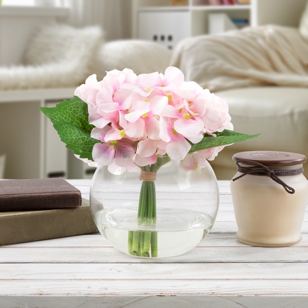 Hydrangea Artificial Silk Floral Arrangement with Vase and Faux Water- Pure Garden (Pink)