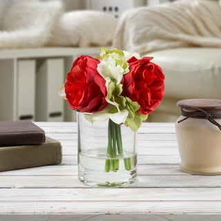 Hydrangea and Rose Artificial Silk Floral Arrangement with Vase and Faux Water- Pure Garden (Red)