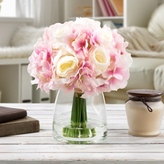 Hydrangea and Rose Artificial Silk Floral Arrangement with Vase and Faux Water- by Pure Garden (White/Pink)