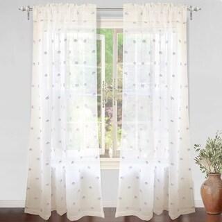 DriftAway Ellie White Voile Sheer Window Curtain Panel Pair