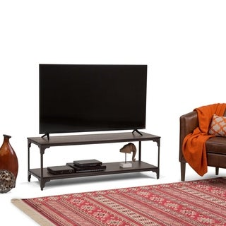 WyndenHall Westwood Walnut Brown Finish Metal/Wood Media Stand for TVs up to 60 Inches