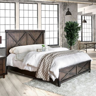Furniture of America Hilande Rustic Farmhouse 2-piece Dark Walnut Bed and Nightstand Set (2 options available)