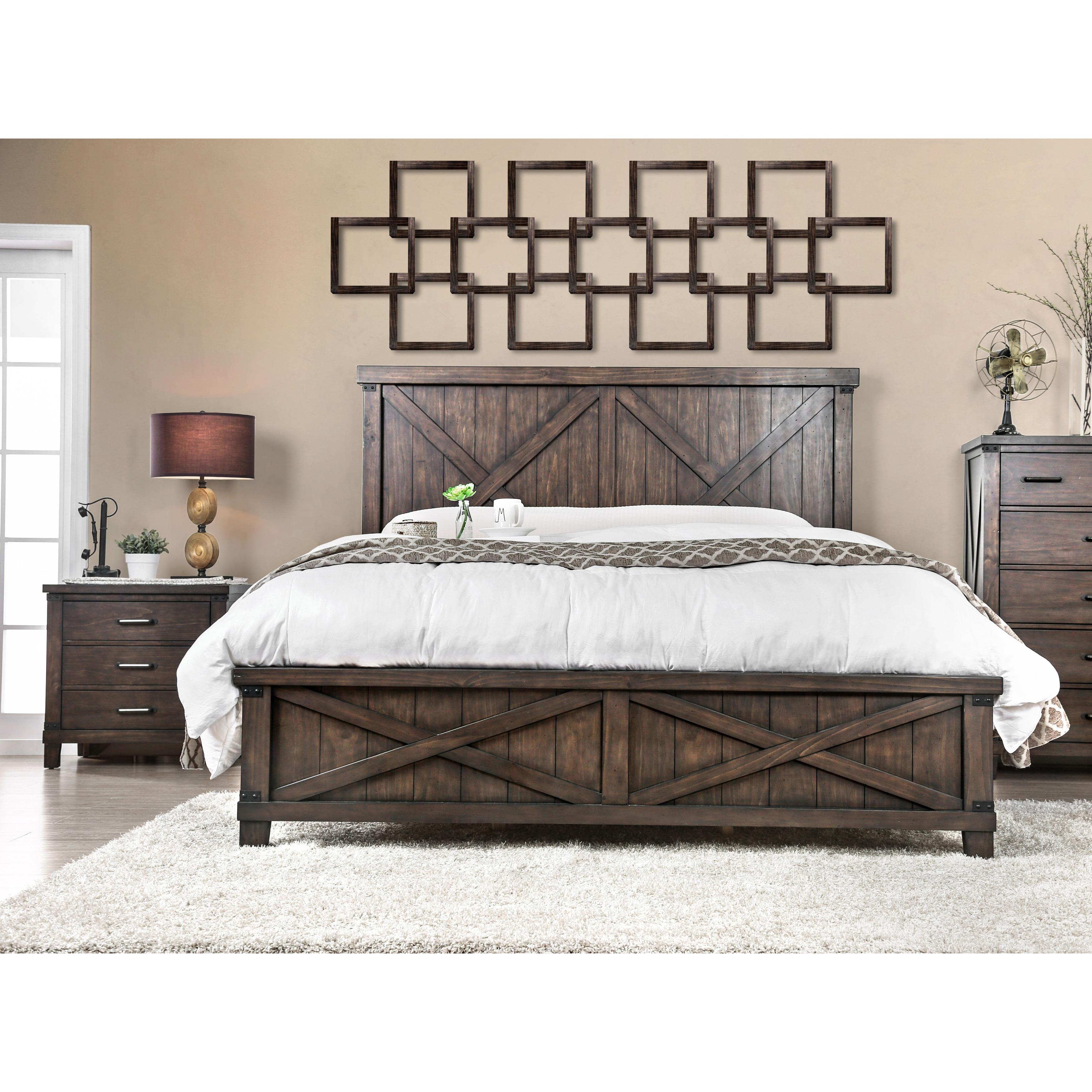 The Gray Barn Epona Rustic 2-piece Dark Walnut Bed and Nightstand Set