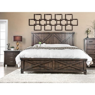 Furniture of America Hilande Rustic Farmhouse 2-piece Dark Walnut Bed and Nightstand Set