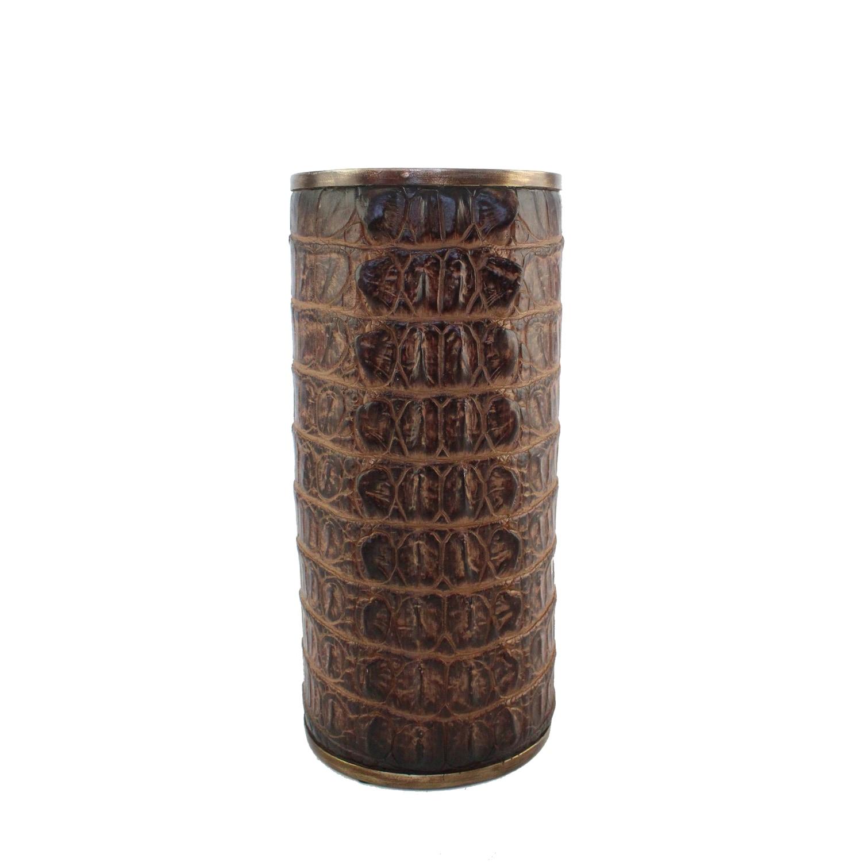 POLYRESIN ALLIGATOR SKIN FINISH VASE, BROWN (5.75x 5.75 x11.75,BROWN)