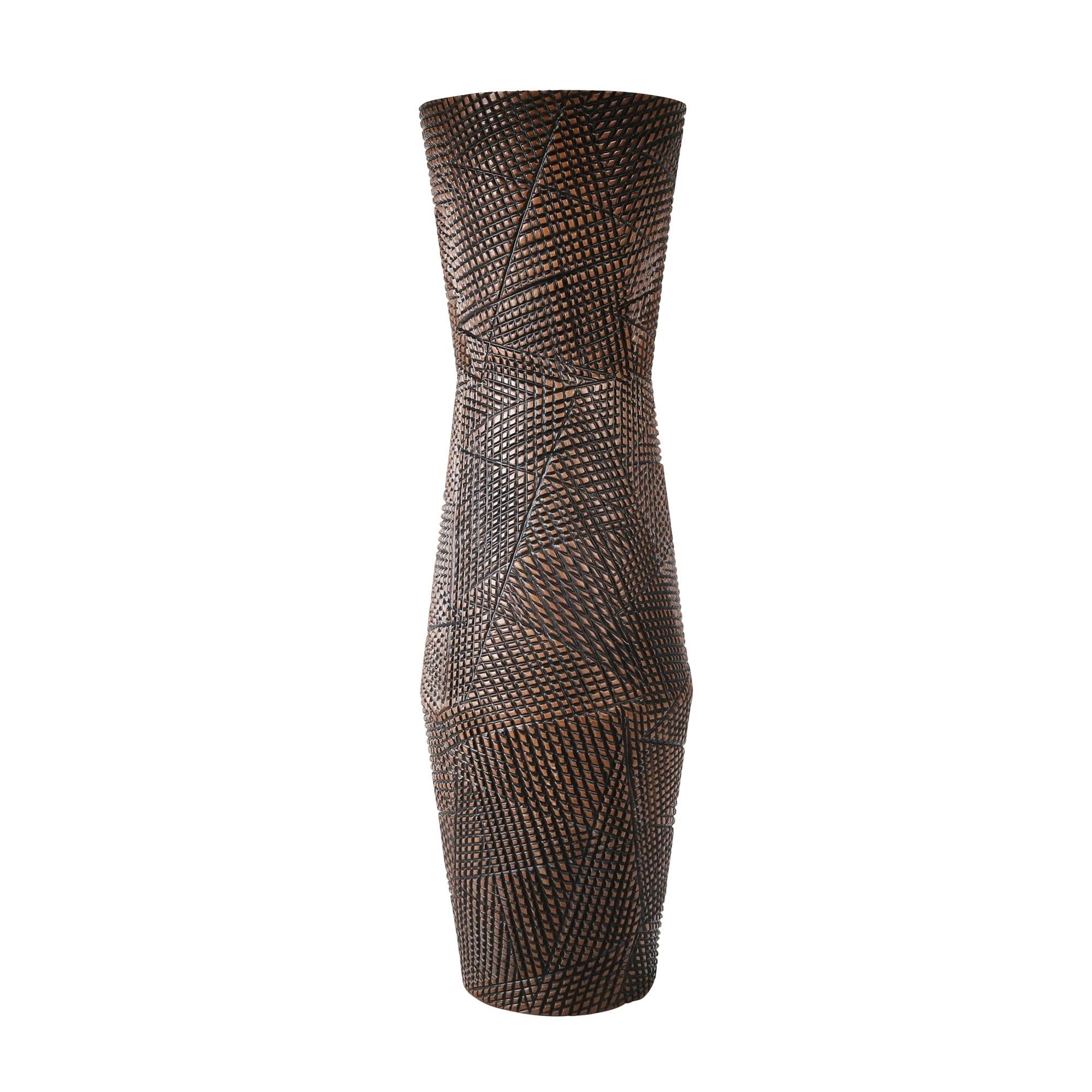 Sagebrook Home Decorative Ceramic Vase, Brown (8.25x 8.25 x23.25,SILVER)
