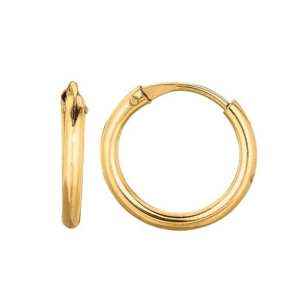 Karat Rushs 10mm 14kt Gold Round Tube Hoop Earrings