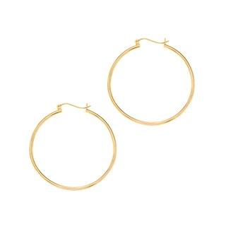Karat Rushs 14kt Gold Round Tube Hoop Earrings