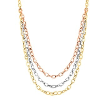 Karat Rushs 14k Gold Tricolor 17-inch Oval Graduated Necklace