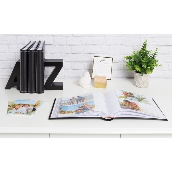 DesignOvation Debossed Faux Leather Photo Album, Holds 200 4x6 Photos, Set of 4