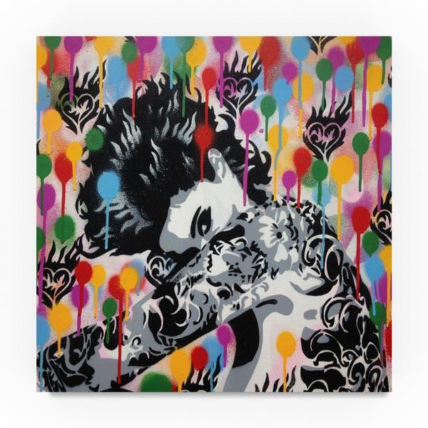 Abstract Graffiti Tattoo Rainbow Canvas Art