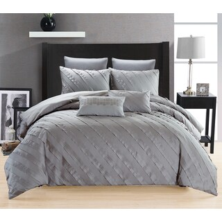 Linna Grey Cotton 3-Piece Duvet Cover Set