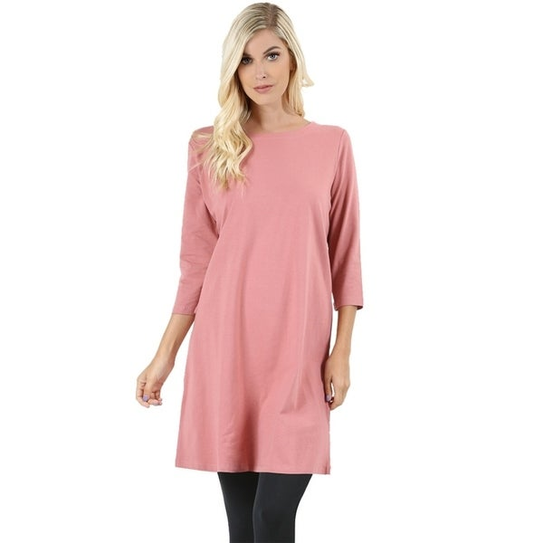 JED Women's Relax Fit Stretchy Longline Cotton T-Shirt Dress - Free  Shipping On Orders Over $45 - Overstock.com - 25235584