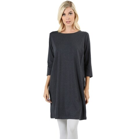 JED Women's Relax Fit Stretchy Longline Cotton T-Shirt Dress