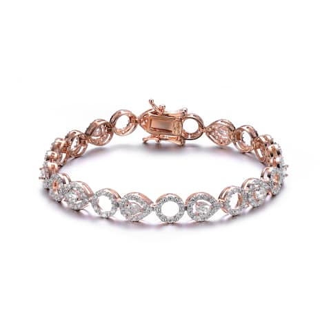 Collette Z Rose Gold Plated Sterling Silver White Cubic Zirconia Accent Tennis Bracelet
