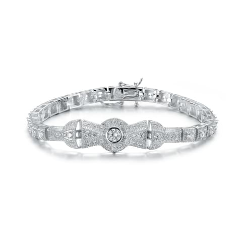 Collette Z Sterling Silver White Cubic Zirconia Accent Omega Bracelet