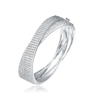 Collette Z Sterling Silver White Cubic Zirconia Bangle Bracelet