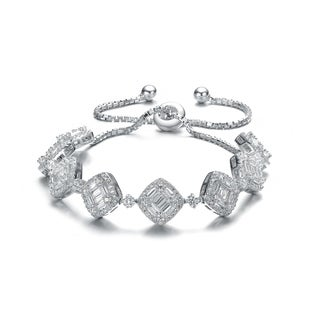Collette Z Sterling Silver White Cubic Zirconia Adjustable Link Bracelet
