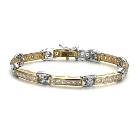 Collette Z Yellow Gold Plated Sterling Silver White Cubic Zirconia Tennis Bracelet