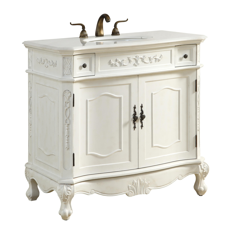 36 In Single Bathroom Vanity Set Antique White