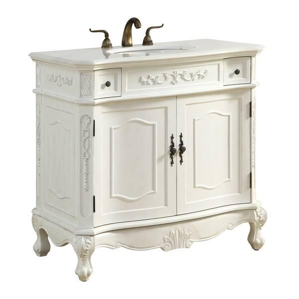 36 In Single Bathroom Vanity Set In Antique White Overstock 19208194
