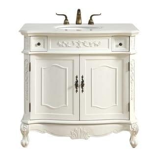 Antique White Wood Marble 36 Inch Single Bathroom Vanity Set
