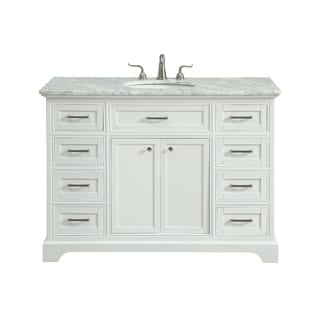 Americana White Italian Carrara Marble/White Porcelain Sink 48-inch Single Bathroom Vanity