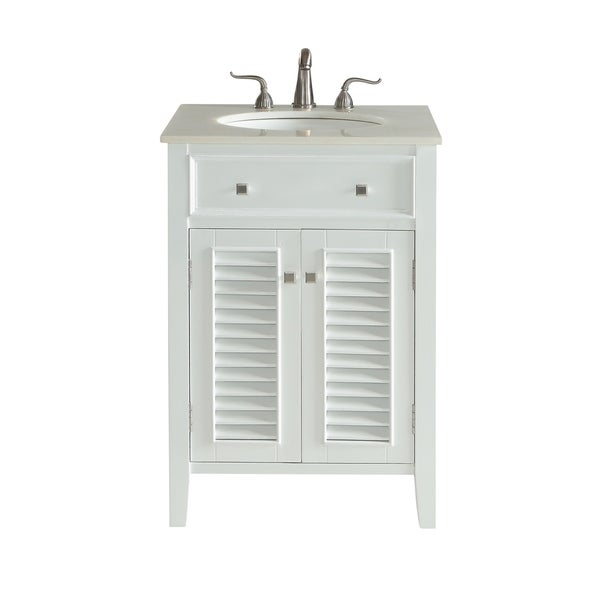 White Wood 24-inch Single-basin Bathroom Vanity