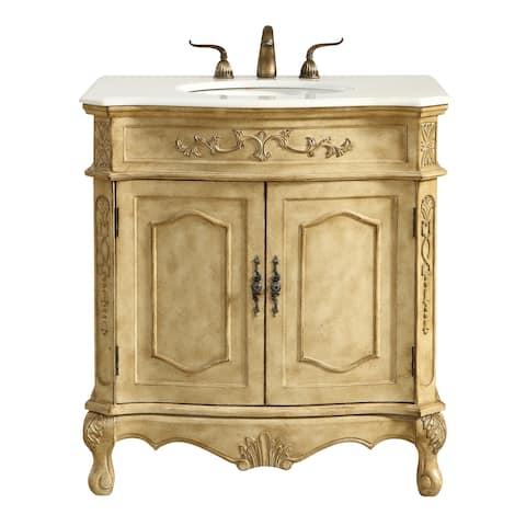 Single Bathroom Vanity Set In Antique Beige