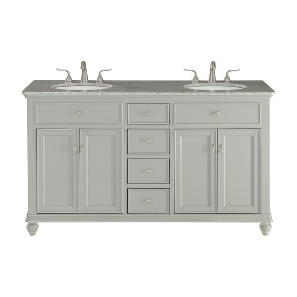 60 in. Double Bathroom Vanity set in Light Grey