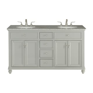 Contemporary Light Grey/White Granite/Porcelain 60-inch Double Bathroom Vanity Set