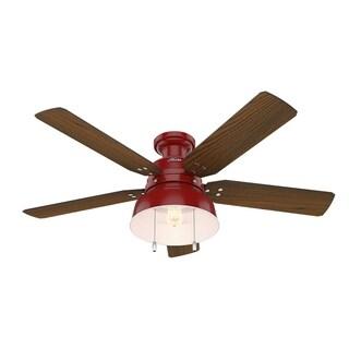 """Hunter Fan 52"""" Mill Valley Barn Red w / 5 Walnut / Blk Willow Rev Blds"""