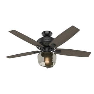 Top rated ceiling fans for less overstock hunter fan bennett 52 inch matte black ceiling fan with 5 grey walnutwalnut aloadofball Choice Image