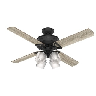 Hunter Fan Brunswick Natural Iron 52 Inch Ceiling Fan With 4 Grey Oak/Oak