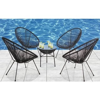 Living Source International Acapulco Black Aluminum All-weather Indoor/ Outdoor 5-piece Conversation Set