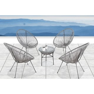 Living Source International Acapulco Grey Aluminum All-weather 5-piece Indoor/ Outdoor Conversation Set
