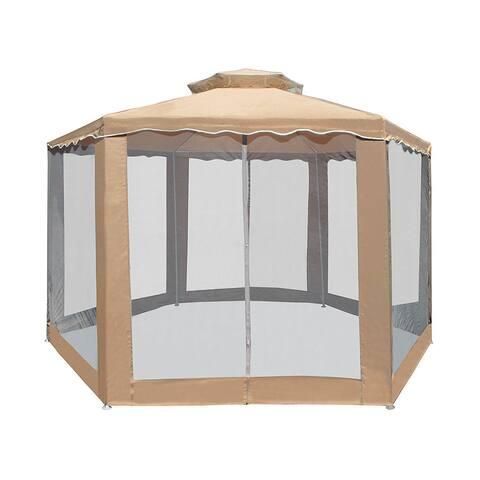 ALEKO Double Roof Hexagon Patio Gazebo with Netting 6.5X6.5X6.5 ft