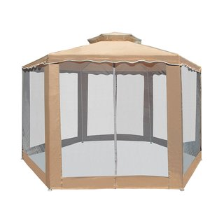 ALEKO Double Roof Hexagon Patio Gazebo with Netting 6.5X6.5X6.5 ft